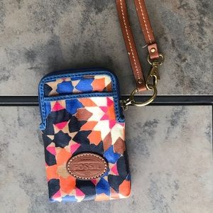 Fossil Wallet/Cell phone holder with wristlet